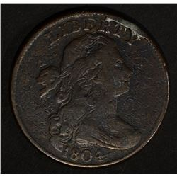 1804 DRAPED BUST LARGE CENT  FINE+