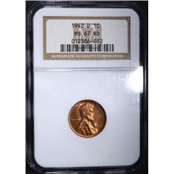 1942-D LINCOLN CENT, NGC MS-67 RED