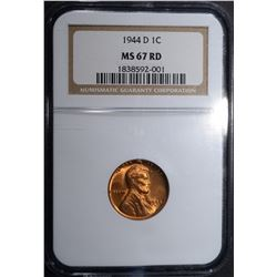 1944-D LINCOLN CENT, NGC MS-67 RED