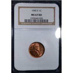 1945-S LINCOLN CENT, NGC MS-67 RED