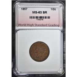1857 HALF CENT, WHSG  CH BU BROWN