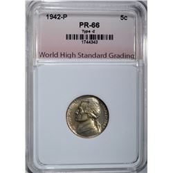 1942-P JEFFERSON NICKEL, WHSG GEM PROOF