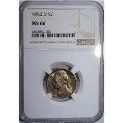 1950-D JEFFERSON NICKEL NGC MS66