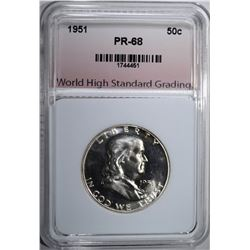 1951 FRANKLIN HALF DOLLAR, WHSG SUPERB GEM+ PROOF