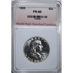 1955 FRANKLIN HALF DOLLAR, WHSG SUPERB GEM+ PROOF