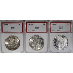 3-BENT PCI GRADED MORGAN DOLLARS: