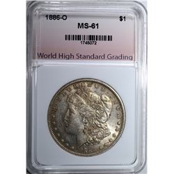 1886-O MORGAN DOLLAR, WHSG UNC