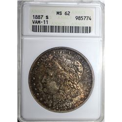 1887 MORGAN DOLLAR, ANACS MS-62