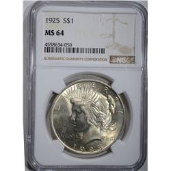 1925 PEACE DOLLAR, NGC MS-64
