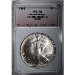 1992 AMERICAN SILVER EAGLE, WHSG PERFECT GEM BU