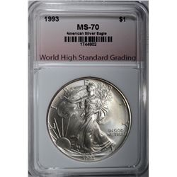 1993 AMERICAN SILVER EAGLE, WHSG PERFECT GEM BU