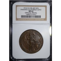 1916 CA HK-429 SO CALLED DOLLAR, NGC MS-62