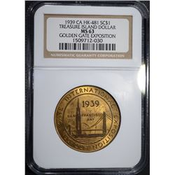 1939 CA HK-481 SO CALLED DOLLAR, NGC MS-63