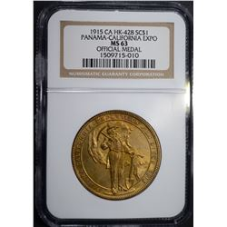 1915 CA HK-428 SO CALLED DOLLAR, NGC MS-63