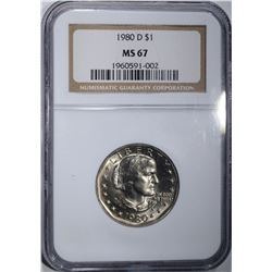 1980-D SUSAN B. ANTHONY DOLLAR, NGC MS-67!