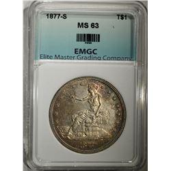 1877-S TRADE DOLLAR, EMGC CH BU