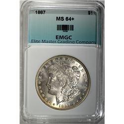 1887 MORGAN DOLLAR, EMGC CH GEM BU