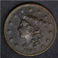 1837 LARGE CENT, VF a few scratches