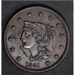 1841 LARGE CENT, AU scratches