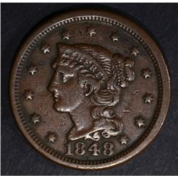 1848 LARGE CENT, VF.XF