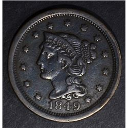 1849 LARGE CENT, VF/XF