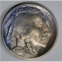 1914-S BUFFALO NICKEL, CH BU colors