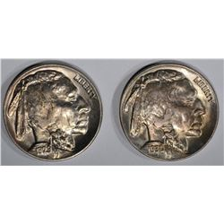 1929 & 1930 GEM BU BUFFALO NICKELS