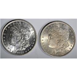 1881-O & 1882-O MORGAN DOLLARS, CH BU