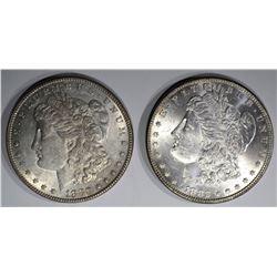 1880 & 1882 MORGAN DOLLAR, CH BU