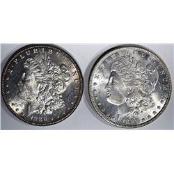 1886 SEMI-PL & 1887 MORGAN DOLLARS, CH BU