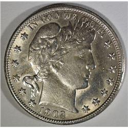 1902-O BARBER HALF DOLLAR  AU/BU