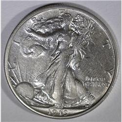 1919-S WALKING LIBERTY HALF DOLLAR  AU+
