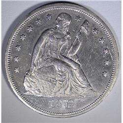 1872 SEATED LIBERTY DOLLAR  CH BU
