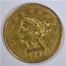 1851-O $2 1/2 GOLD LIBERTY  AU+