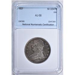 1837 CAPPED BUST HALF DOLLAR NNC AU BU