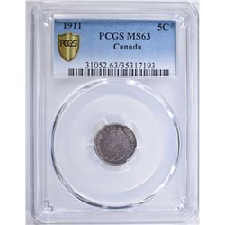 1911 SILVER 5 CENTS CANADA PCGS MS63
