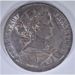1860 SILVER THALER FRANKFURT GERMANY CH.AU