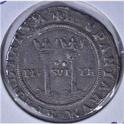 1544-1548 LARGE SILVER PILLAR 2 REALES