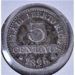 1896 SILVER 5 CENTAVOS PUERTO RICO