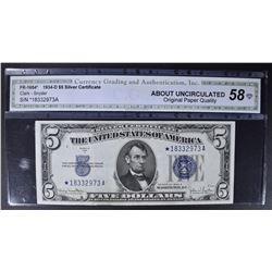 1934-D $5 SILVER CERTIFICATE  CGA AU-OPQ