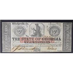1862 FIVE DOLLARS THE STATE OF GEORGIA