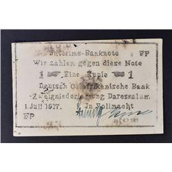 1917 1 RUPIE GERMAN EAST AFRICA WW1