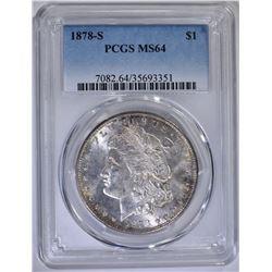 1878-S MORGAN DOLLAR PCGS MS64