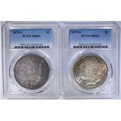 2 1879-S MORGAN DOLLARS PCGS MS63
