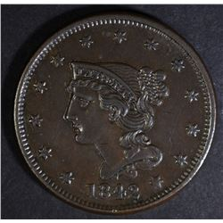 1842 BRAIDED HAIR LARGE CENT  CH BU