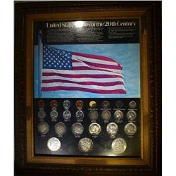 25 COIN FRAMED 20th CENTURY SET