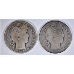 2 1904-S BARBER HALF DOLLARS G+, AG/G