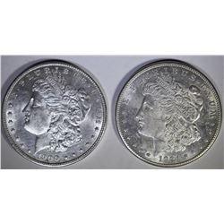 1900 & 1921-S MORGAN DOLLARS CH BU