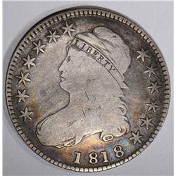 1818 BUST HALF DOLLAR O-114, VG+