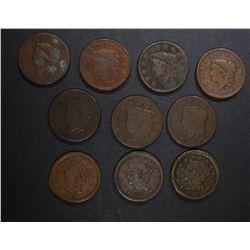 U.S. LARGE CENTS: 1818, 1827, 1826, 1839,